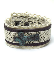 HANDMADE LEATHER WITH LACE VINTAGE CROSS BUTTON BRACELT