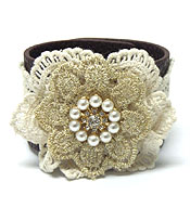 HANDMADE FLOWER PEARL LEATHER LACE BUTTON BRACELET