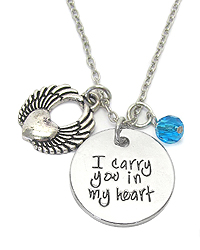 INSPIRATION MESSAGE MULTI CHARM PENDANT NECKLACE - I CARRY YOU IN MY HEART