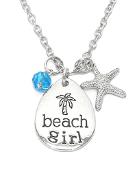 INSPIRATION MESSAGE MULTI CHARM PENDANT NECKLACE - BEACH GIRL