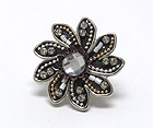 HANDCRAFT ACRYL ART METAL FLOWER STRETCH RING