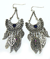METAL FEATHER WITH STONE HOOK EARRINGS