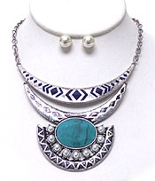 BOHEMIAN STYLE LAYER METAL NECKLACE SET - Wholesale Jewelry