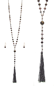 CRYSTAL AND STONE BALL MIX THREAD TASSEL DROP Y SHAPE LONG NECKLACE SET