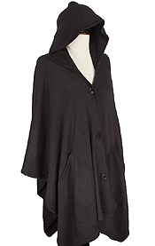 BUTTON CLOSURE HOODY CAPE WITH POCKET - 100% ACRYLIC