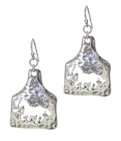 HAMMERED METAL FARM ANIMAL EARRING - HORSE