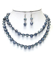 SEMI PRECIOUS STONE AND GLASS BEADS CORD LINK LONG NECKLACE SET