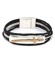 HANDMADE CROSS PLATE AND WAX CORD MAGNETIC CLOSURE BRACELET