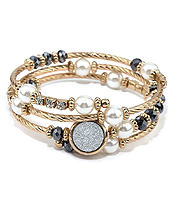 DRUZY AND PEARL MIX COIL BRACELET