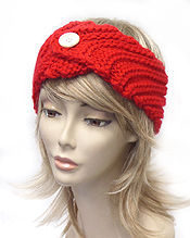 100% ACRYL CROCHET KNIT BUTTON ACCENT WINTER HEADWRAP