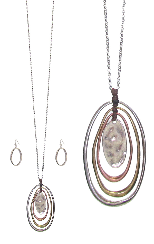 MULTI OVAL RING PENDANT LONG NECKLACE SET
