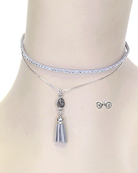 METAL STUD LEATHERETTE AND FINE CHAIN DOUBLE LAYER CRYSTAL TASSEL DROP CHOKER NECKLACE SET
