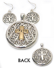 METAL FILIGREE FRONT AND BACK BOTH SIDE PENDANT AND EARRING SET