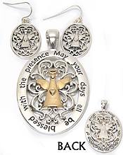 METAL FILIGREE FRONT AND BACK BOTH SIDE ANGEL PENDANT AND EARRING SET