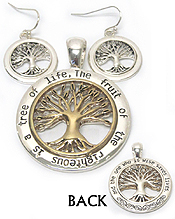 METAL FILIGREE FRONT AND BACK BOTH SIDE TREE OF LIFE PENDANT AND EARRING SET