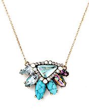 BOUTIQUE STYLE MULTI STONE COCKTAIL PENDANT NECKLACE