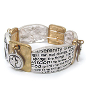RELIGIOUS INSPIRATION RUSTIC MESSAGE STRETCH BRACELET - SERENITY PRAYER