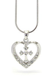 WHITEGOLD PLATING CRYSTAL CROSS AND HEART PENDANT NECKLACE