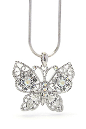 WHITEGOLD PLATING CRYSTAL BUTTERFLY NECKLACE