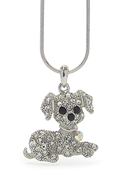 WHITEGOLD PLATING CRYSTAL STUD DOG PENDANT NECKLACE