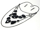 NATURAL SHAPE ACRYLIC DECO AND MULTI LAYERED CHAIN NECKLACE EARRING SET