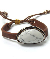 HANDMADE SEMI PRECIOUS NATURAL SHAPE STONE AND LEATHERETTE PULL TIE BRACELET