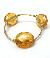 HANDMADE FACET GLASS AND BOURBON WIRE WRAPPED BANGLE BRACELET
