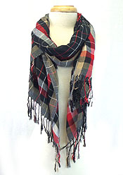 CHECKERS PRINT WITH TASSEL SCARF