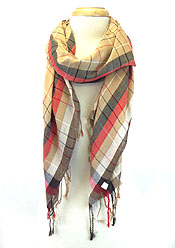 CHECKERS PRINT WITH TASSEL SCARF - Wholesale Fashion Accessories