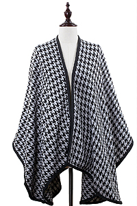 HOUNDSTOOTH PATTERN 100% ACRYLIC CAPE