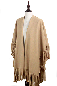 SOLID COLOR 100% ACRYLIC FLEECE CAPE WITH TASSEL