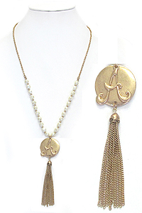 MONOGRAM PENDANT AND TASSEL DROP FRESH WATER PEARL CHAIN NECKLACE - A