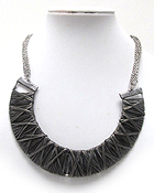 METAL WIRE WRAPPED HARF CHOKER NECKLACE