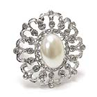 PEARL CENTER AND CRYSTAL DECO FLOWER PIN OR BROOCH