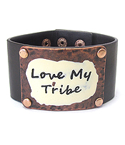 WIDE METAL PLATE AND LEATHER BRACELET - LOVE MY TRIBE