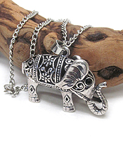 VINTAGE TIBETAN SILVER FILIGREE ELEPHANT LONG NECKLACE