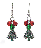 CHRISTMAS TREE AND BELL DANGLE EARRING