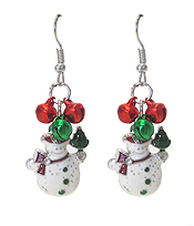 SNOWMAN AND BELL DANGLE EARRING