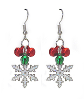 SNOWFLAKE AND BELL DANGLE EARRING