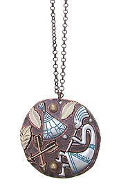 LARGE PENDANT AND LONG CHAIN NECKLACE - KOKOPELLI