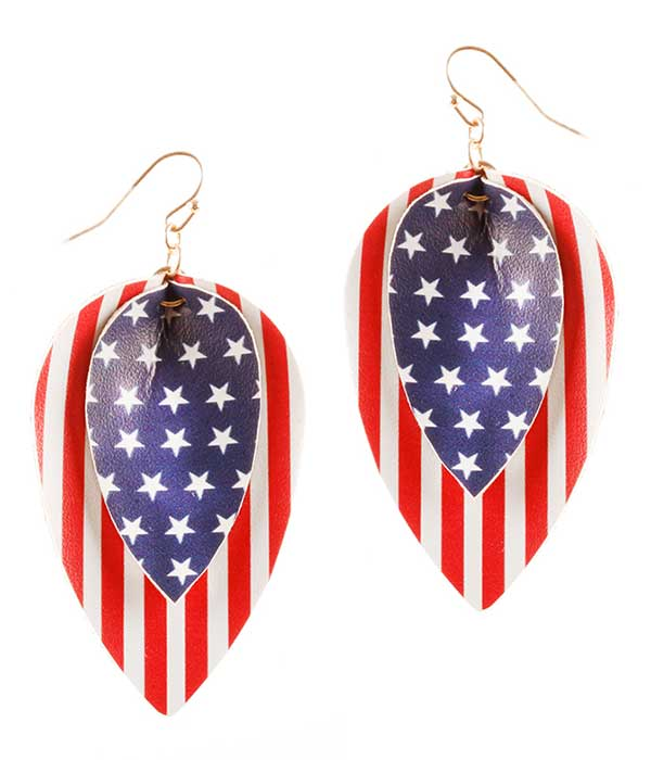 PATRIOTIC AMERICAN FLAG LEATHERETTE EARRING - MARQUISE