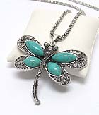 TURQUOISE AND METAL FILIGREE DRAGONFLY PENDANT LONG NECKLACE