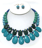 LAYER MULTI FACET ACRYLIC TEARDROPS STATEMENT NECKLACE SET