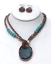 RUSTIC VINTAGE TWO LAYER CHAIN WITH TURQUOISE STONE NECKLACE SET