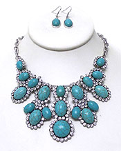 TURQUOISE STONE WITH CRYSTALS NECKLACE SET