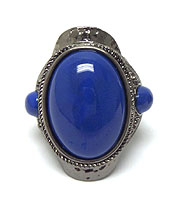 PUFFY OVAL STONE STRETCH RING