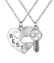 BEST FRIEND HEART AND KEY TWO PIECE NECKLACE