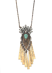 BOHEMIAN STYLE TURQUOISE CENTER AND METAL BAR DROP LONG NECKLACE