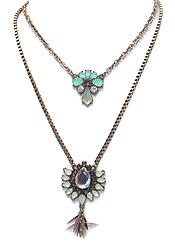 BOHEMIAN STYLE CRYSTAL MIX PENDANT DOUBLE LAYER NECKLACE SET