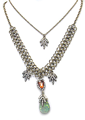 BOHEMIAN STYLE CRYSTAL PENDANT DOUBLE LAYER NECKLACE SDET